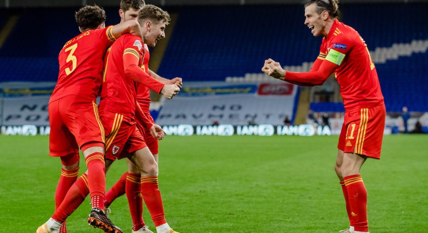 CARDIFF, WALES - 15 NOVEMBER, 2020: Wales' David Brooks scores and celebrates with team mates during to the Group H Nations League fixture between Wales & Republic of Ireland at the Cardiff City Stadium, Cardiff, Wales, on the 15th of November 2020.