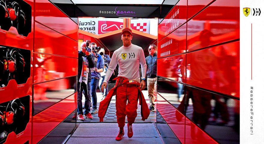 Vettel nel tunnel che porta al box