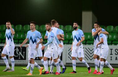 esultanza slovenia dopo il 4 a 0 alla moldova