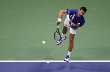 NEW YORK, NEW YORK - AUGUST 31: Novak Djokovic of Serbia serves during his Men's Singles first round match against Damir Dzumhur of Bosnia and Herzegovina on Day One of the 2020 US Open at the USTA Billie Jean King National Tennis Center on August 31, 2020 in the Queens borough of New York City. (Photo by Matthew Stockman/Getty Images)