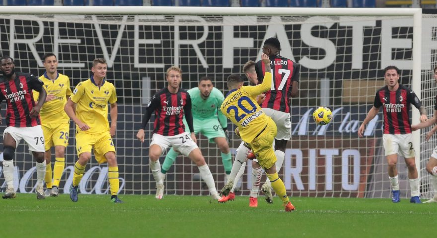 MILAN, ITALY - NOVEMBER 08:  Mattia Zaccagni of Hellas Verona scores his goal during the Serie A match between AC Milan and Hellas Verona FC at Stadio Giuseppe Meazza on November 8, 2020 in Milan, Italy.  (Photo by Emilio Andreoli/Getty Images)