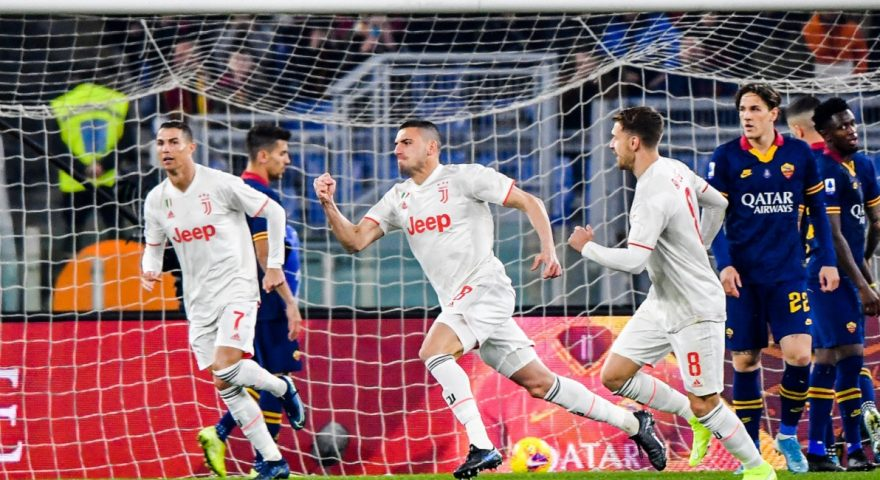 Juventus' Turkish defender Merih Demiral (C) celebrates after opening the scoring during the Italian Serie A football match AS Roma vs Juventus on January 12, 2020 at the Olympic stadium in Rome. (Photo by Andreas SOLARO / AFP) (Photo by ANDREAS SOLARO/AFP via Getty Images)