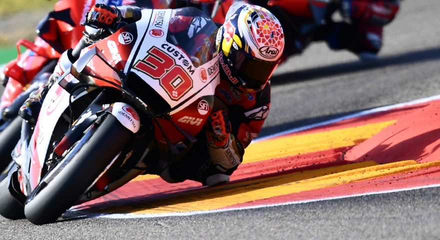Japan's Takaaki Nakagami rides his Honda during the Aragon Motorcycle Grand Prix at the Motorland circuit in Alcaniz, Spain, Sunday, Oct. 18, 2020. Nakagami finished in fifth place. (AP Photo/Jose Breton)