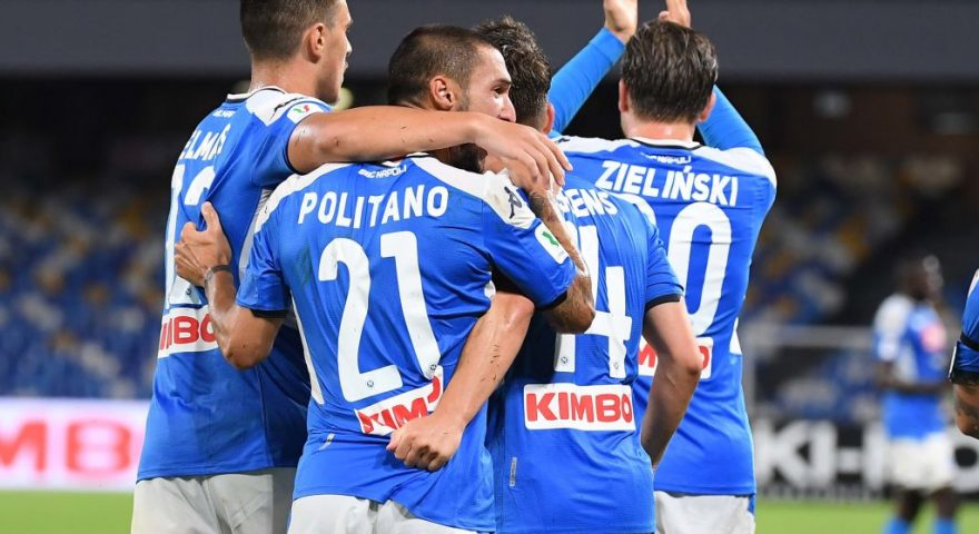 NAPLES, ITALY - JUNE 13:  Dries Mertens of Napoli celebrates with teammates after scoring the equalizing goal during the Coppa Italia Semi-Final Second Leg match between SSC Napoli and FC Internazionale at Stadio San Paolo on June 13, 2020 in Naples, Italy.  (Photo by SSC NAPOLI/SSC NAPOLI via Getty Images )