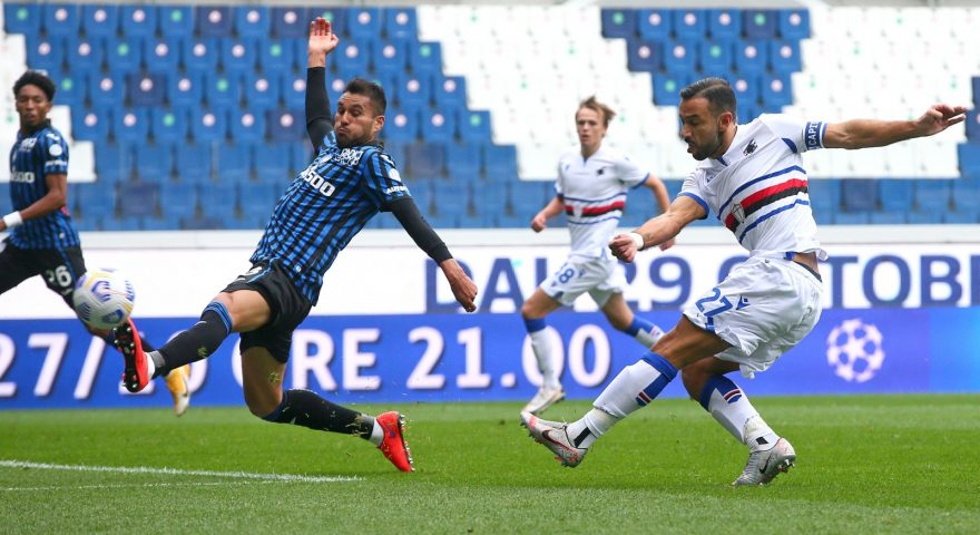 Sampdoria's Fabio Quagliarella scores the goal 0-1 during the Italian Serie A soccer match Atalanta BC vs Sampdoria at Gewiss Stadium in Bergamo, Italy, 24 October 2020.ANSA/PAOLO MAGNI